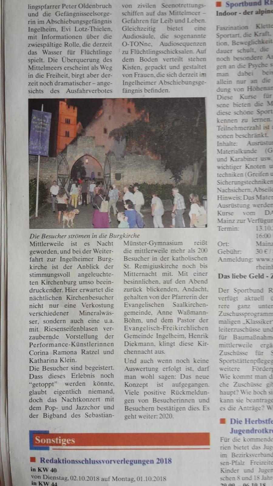 Zeitungsartikel Performance